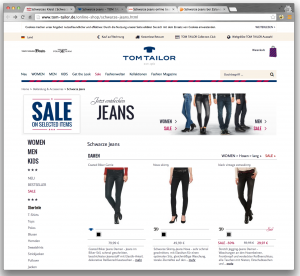 Tom Tailor har typiskt tysk webbdesign